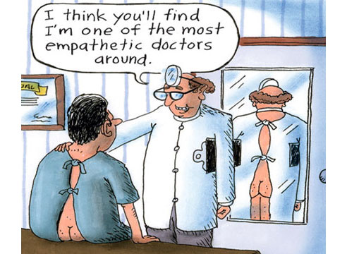 Patch Adams cartoon - empathetic doctor