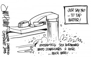 Tap Water cartoon by Creative Loafing, shows need for distilled water
