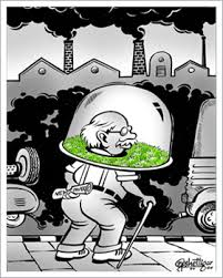 air pollution helmet old man cartoon Yogi Shettigar