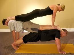 yoga group pose men women