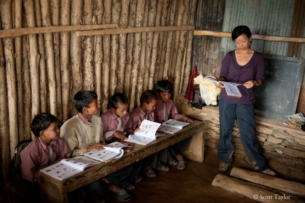 Elley Ho teaching in Nepal through the Nepal Education Initiative Organization