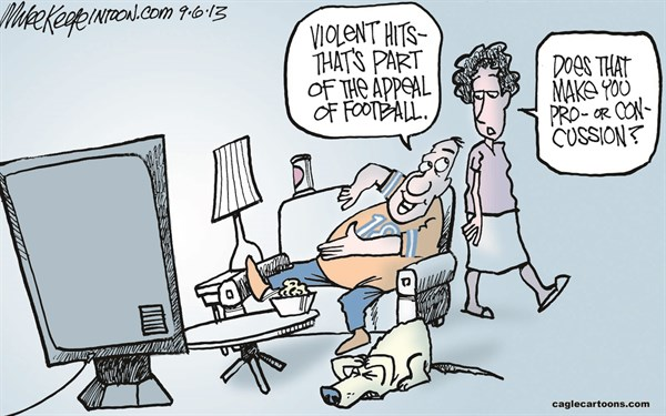 Mike Keefe concussion cartoon