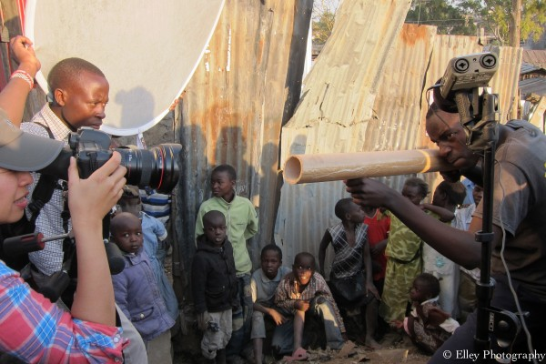 Behind the scene with Elley Ho filming at a slum in Narok Kenya