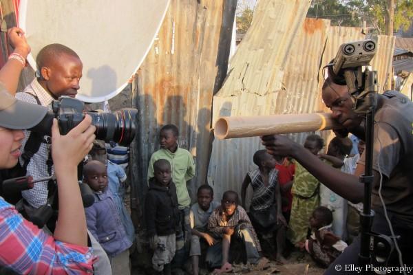 Behind the scene with Elley Ho filming at a slum in Narok Kenya