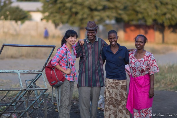 Elley Ho in Narok Kenya with a teacher and his family who volunteered to be actors