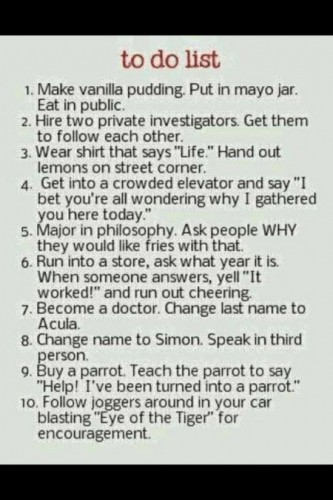 funny to do list make vanilla pudding