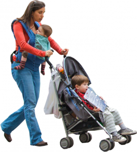 Mom toting a baby and boy in stroller