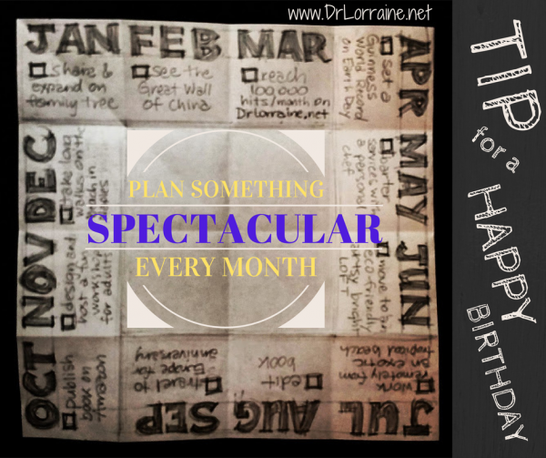 Happy birthday tip: Plan something spectacular every month