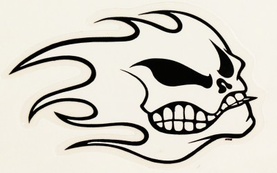 "Flame skull for No Fear by Mark ""Boogaloo"" Baagoe."
