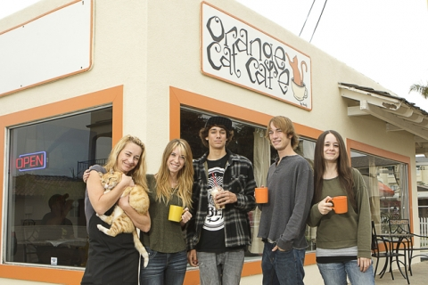 Orange Cat Café's crew—(left to right) Karen Kennedy, Bronte Diaz, Noah Kennedy, Riley Kennedy, and Taylor Diaz