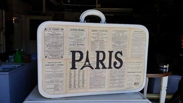 Paris Suitcase Repurpose Restoration Illumination stencil decoupage