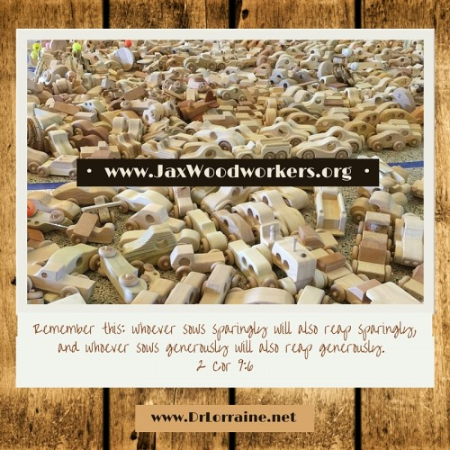 Jax-Woodworkers-Corinthians-Bible-verse-reap-sow-gifts-wood-toys-handmade-airplanes-cars-trucks-wheels-DrLorraine