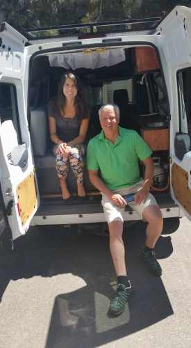 """This fellow roadtripper put my ride to shame! His van a bed, sink and stove! After losing to pool, I was able to whup his son in Catan,"" Amanda said."