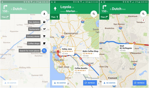 business reviews ratings Google maps search along route